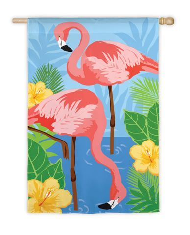 Tropical Flamingos Garden Flag Flamingo fantasy fun Pinterest