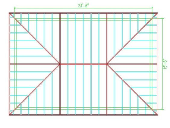 Hip roof calculator roof framing hip roof design for Metal hip roof