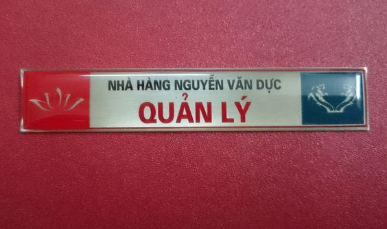 thẻ nhân viên inox ăn mòn nhà hàng Nguyễn Văn Dực