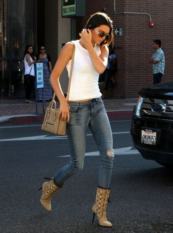 Kendall Jenner in RtA skinny jeans on in