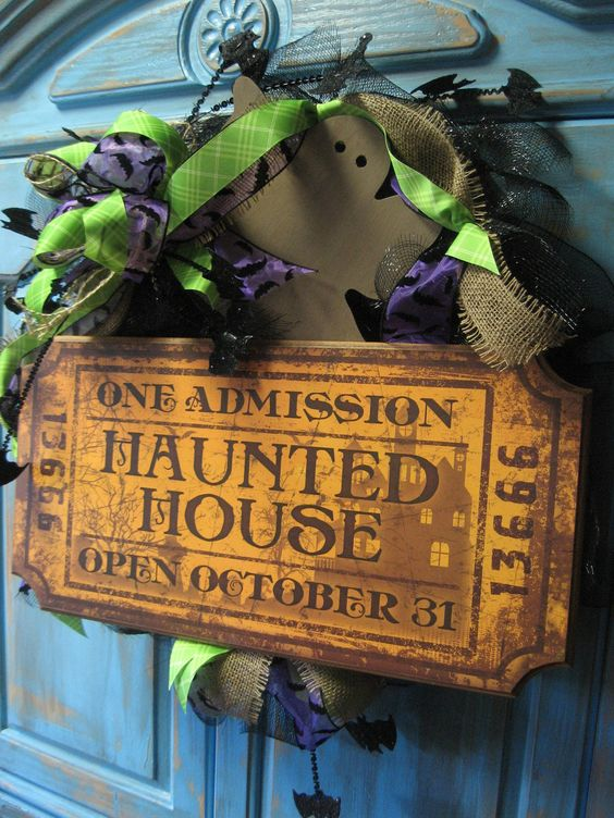 HAUNTED HOUSE TICKET large wreath w/ large bow, ghost, bats on black deco mesh wreath- Halloween wreath... absolutely love this!!!: Halloween Stuff, Halloween Decoration, Wreaths Halloween, Haunted House, Deco Mesh Wreaths, Halloween Wreaths, Black Deco