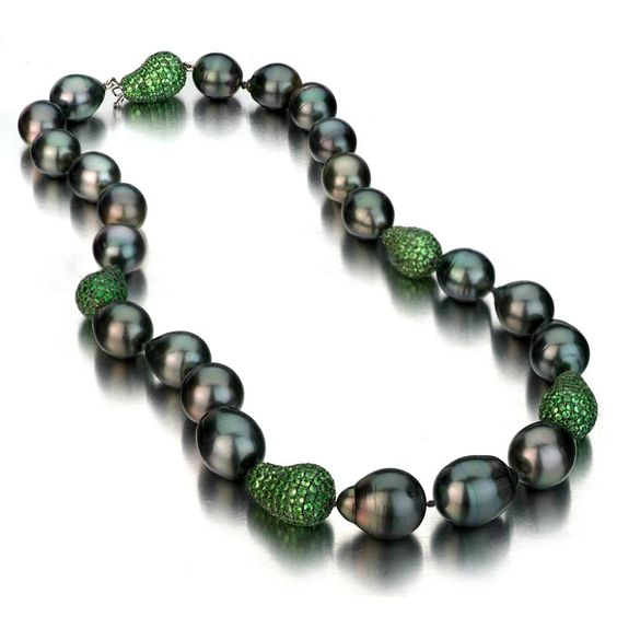 Baroque Tahitian Pearl necklace with tsavorites