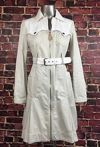 Diesel Trench Coat Women's XL Full Double Zip Beige Belted Cotton Knee Length | eBay