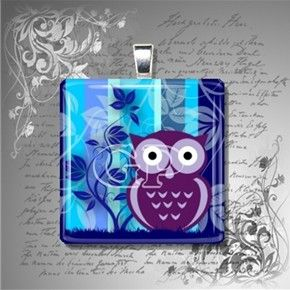 gorgeous owl pendant from {The Glass Pendant Shop} $10.95 - love the colors: turquoise, blue, gray, navy, and wine. #owls