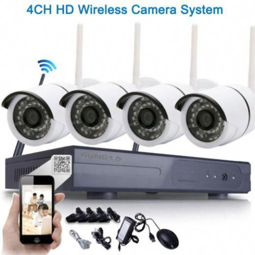 Wifi 4ch 720p Hd Ip Camera Waterproof Home Video Security Systems Cctv Nvr 4 Ip Network Wireless Security System Wireless Camera System Video Security System