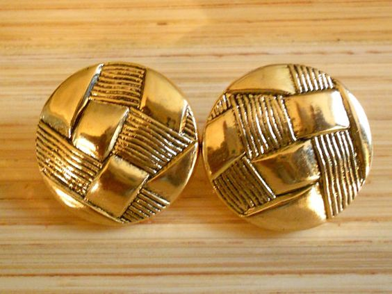 Vintage Woven Gold Button Earrings by Styledentity on Etsy, $7.00