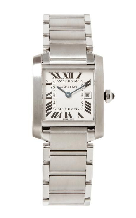 Cartier Tank Francaise Watch In Stainless Steel From Beladora by Beladora for Preorder on Moda Operandi