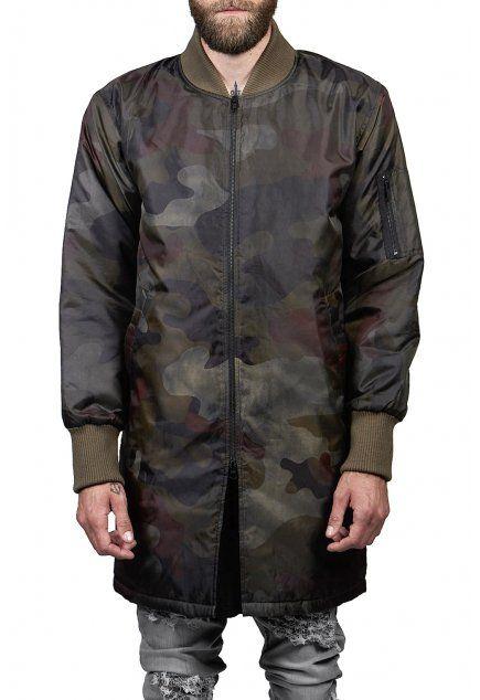 OTHER UK* Long Bomber Jacket Washed Camo   Camo - AW16 Menswear