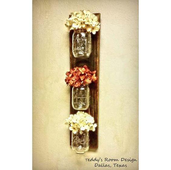 Mason Jar Wall Hanging , Country Decor, Rustic Mason Jar Decor , Reclaimed Wood , Wall Sconce ...