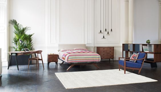 Matthew Hilton for De La Espada  bedroom furniture with Missoni Home textiles & bedlinen. All available at Heal's