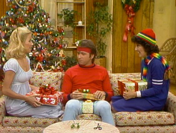 three's company-After the roommates are not invited to a big Christmas party, they decide to go to a get together at the Ropers place.