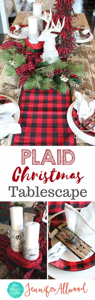 DIY Plaid Tablescape for Christmas Decorating by Magic Brush. These tartan / buffalo check holiday center pieces were less than $100 at Hobby Lobby! Christmas Decorating Ideas: