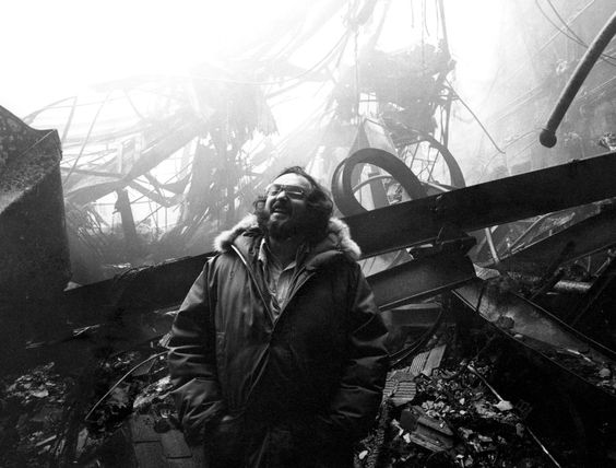 Stanley Kubrick on the burnt down set of The Shining (1980)