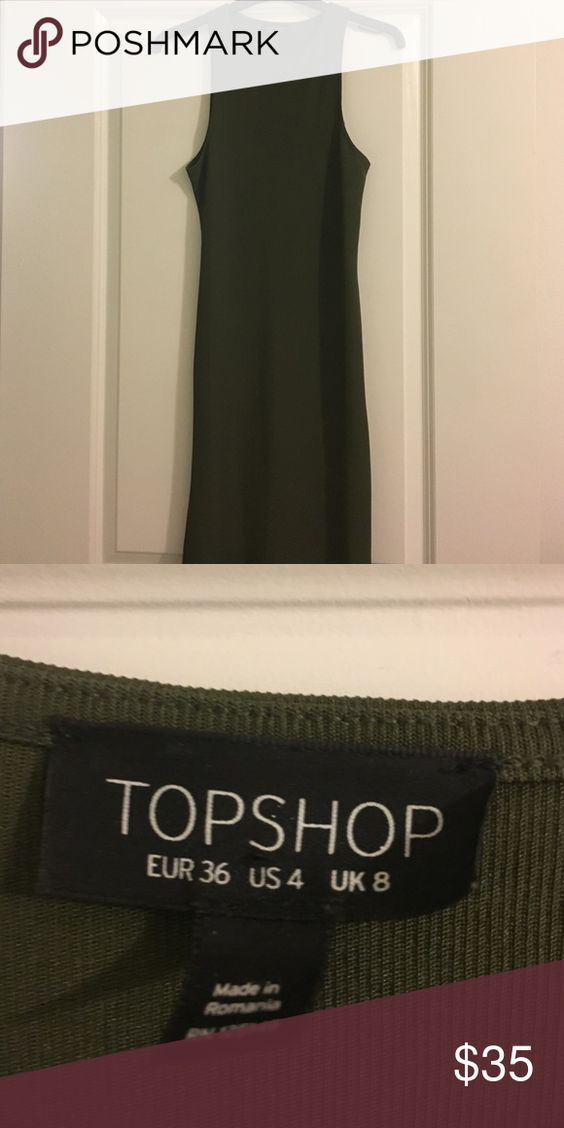 Army Green Mid Calf Body Con Topshop dress Mid calf body con topshop dress. Color is an army green and is very form flattering on. Worn once Topshop Dresses