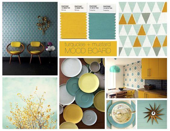 mustard turquoise interior - Cerca con Google: