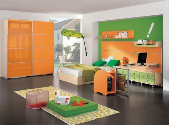 kinderzimmer ideen jungs teppich gelb grüne farbe orangen design, Moderne deko