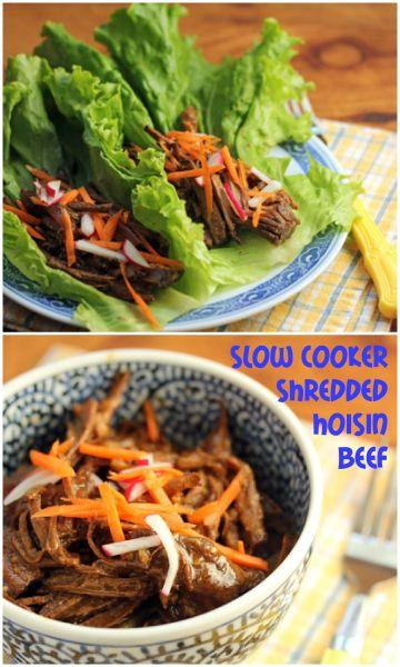 Slow cooker shredded hoisin beef in lettuce wraps. #crockpot