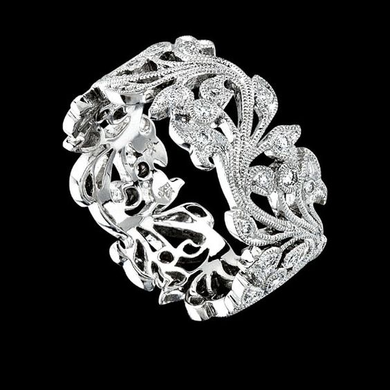 8WR720DD Floral Bands RINGS Love Pinterest Wedding
