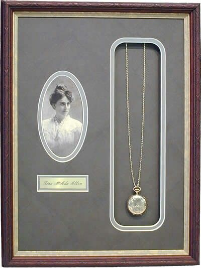 Have a family heirloom custom framed, along with a photo of the family member who first introduced the piece to the family - brilliant!