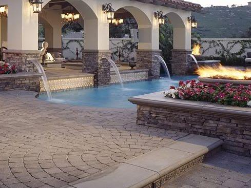 Stone and stucco patio cover backyard inspiration for Stucco patio cover designs