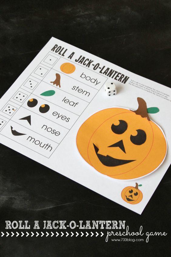 Roll A Jack-O-Lantern Preschool Game