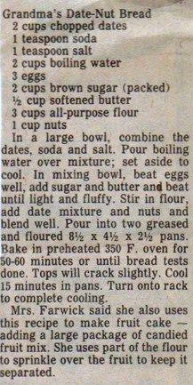 Grandma's Date Nut Bread
