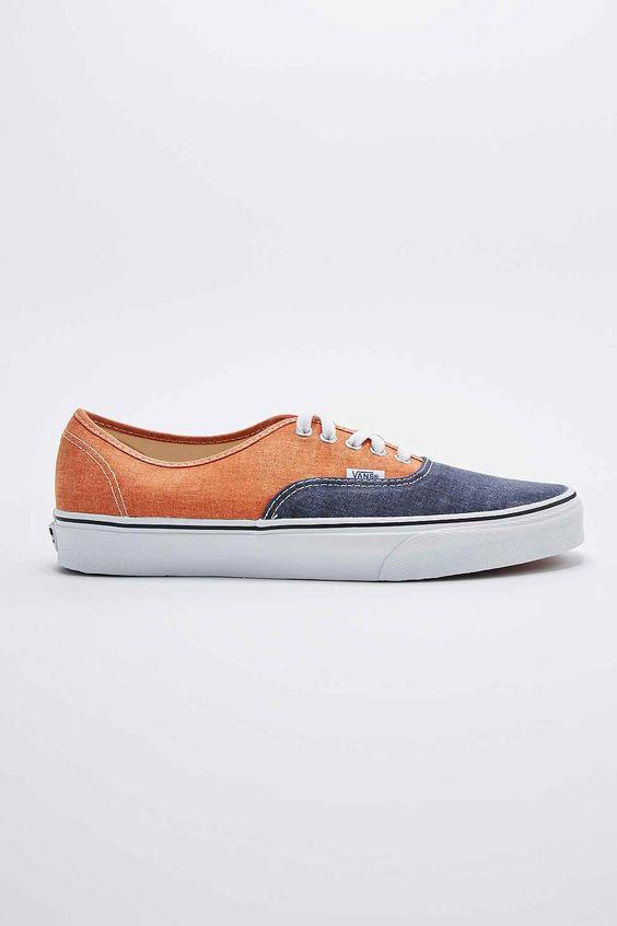 """Vans – 2-farbige Sneaker """"Authentic"""" in Orange und Marineblau"""