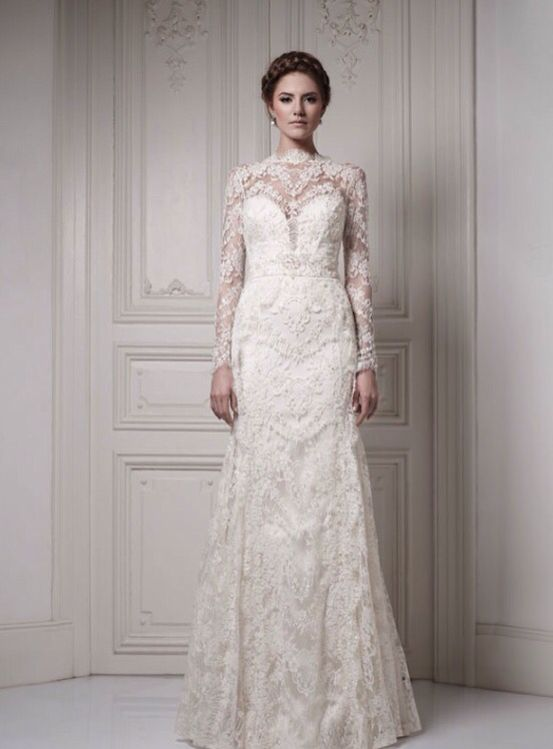 Beautiful lace gown that accentuates the curves while looking very modest. Sweetheart shaped neckline is just wonderful