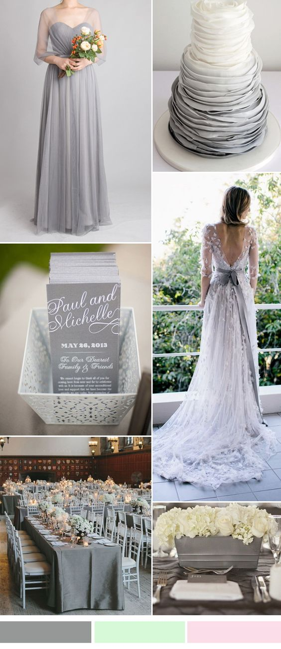 grey wedding color ideas and bridesmaid dresses trends