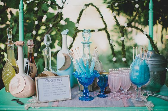 Moon inspired bar TABLE. Cocktails. Blue sugar. Ranch Bohemian Red Tail wedding inspiration. Vintage-inspired lounges + eclectic, southwestern-styled tablescapes. Photography: Katie Pritchard. Location: private residence in Ojai, California.