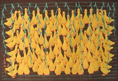 A Flock Of Ducks  Getting together is a flock  of happy ducks Artist's signature on the lower left hand corner. Hand painted Original Approximate size unframed 31 inches high x 22 inches wide FREE SHIPPING
