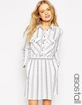 ASOS TALL - Robe chemise à rayures en fibres naturelles