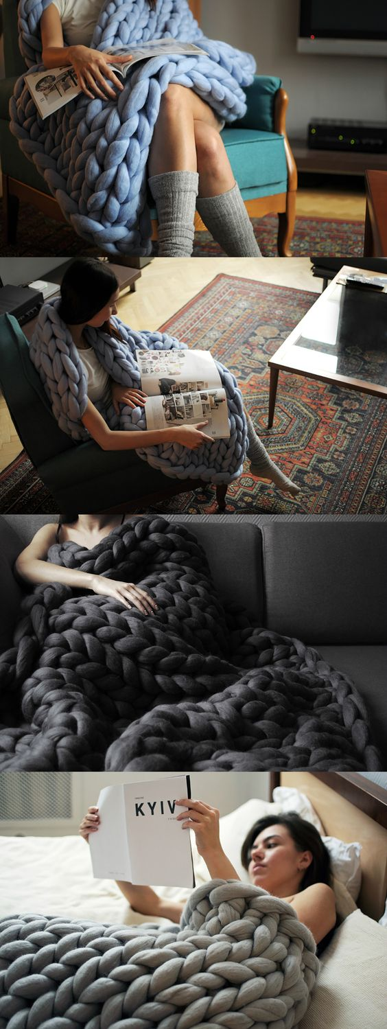 I mean chunky knit! A single stitch of the Ohhio blanket is 3 inches and the blanket's overall thickness is a whopping 2 inches. Made from up to 10 lbs of 100% merino wool, these big stitch blankets give the feeling of weight and warmth to keep you cozy all winter long. DO WANT! #Wool #Blanket #YankoDesign: