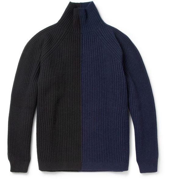 Jil Sander Colour-Block Wool and Cashmere-Blend Rollneck Sweater | MR PORTER
