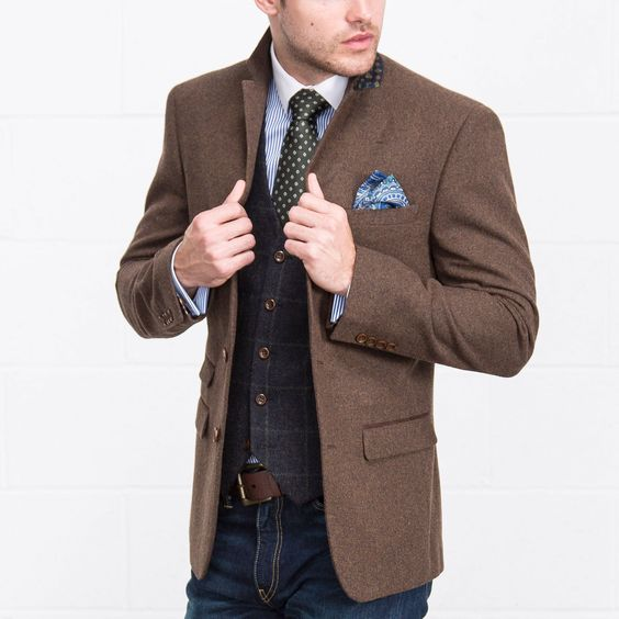 HARRY BROWN Plain Brown Wool Mix Blazer - Blazers &amp Jackets