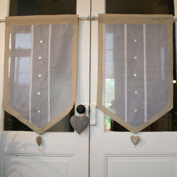 id trop chou le rideau coeur organdi et lin brise bise d co de charme des rideaux des. Black Bedroom Furniture Sets. Home Design Ideas