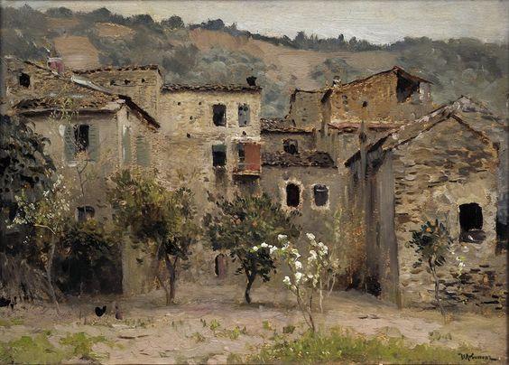 Isaac levitan - PERTO DE BORDIGHERA,  NORTE DE ITÁLIA - 1890