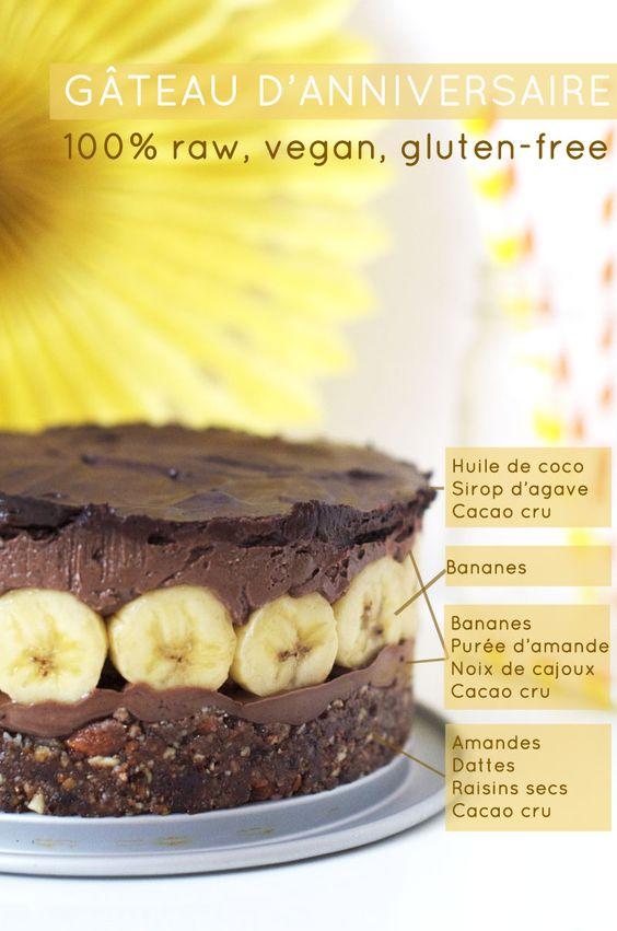 Gâteau d'anniversaire cru vegan gluten-free Maman, je veux ce gâteau pour mon prochain anniversaire !