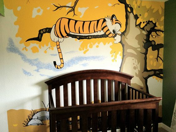 Calvin and hobbes nurseries and yellow walls on pinterest for Calvin and hobbes bedroom mural