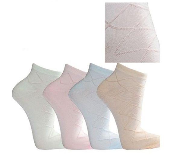 12 Paar Damen Sneaker-Socken weiß und Zarte Pastellfarben ( mit Muster)