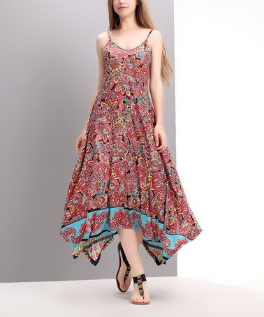 Reborn Collection Red Paisley Handkerchief Maxi Dress ...