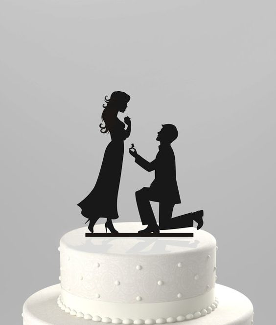 Hey, I found this really awesome Etsy listing at https://www.etsy.com/listing/183188367/wedding-cake-topper-silhouette-proposal: