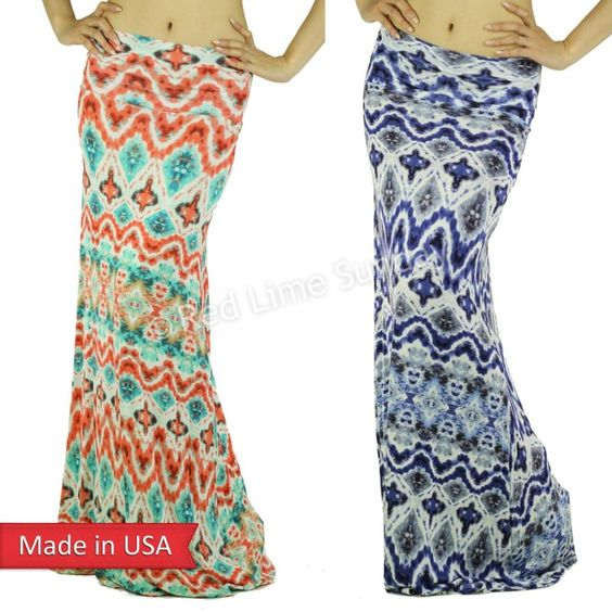 New Baroque Tribal Tie Dye Ombre Coral Blue Ethnic Print Foldover Maxi Skirt USA