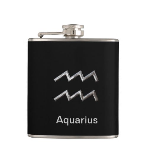 A stylish hip flask with Aquarius birth sign in a silver color. A fabulous little hip flask and an ideal gift idea for anyone who likes a little tipple. #zodiac #birth-signs #symbols #birthday-symbol #silver #horoscope #sign #asrtology #birth #aquarius #drinking-flask #alcoholic-drinking-vessel #astrological #stars #zodiacs #signs #astrology #western #pictures #charts #chart #birthday #philosophy #space #astro