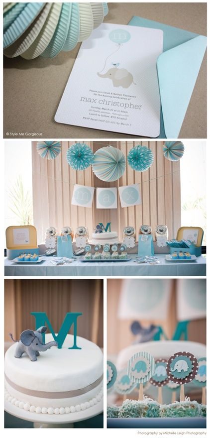 Boy baby shower. I like the colors and elegance, but I would leave off the elephant.