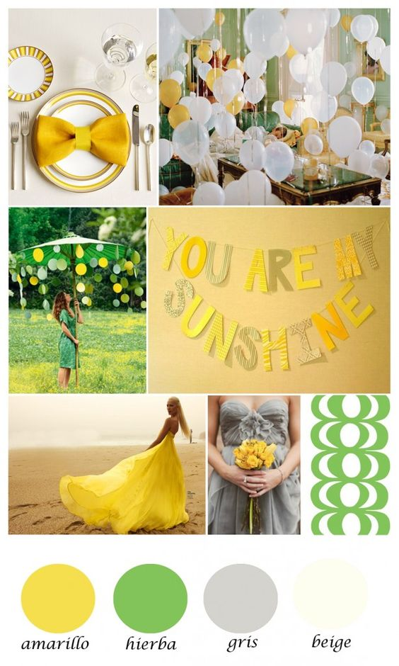 Colour board. green, yellow and gray