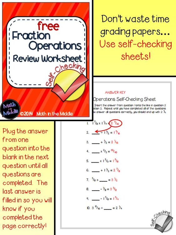 math worksheet : download this free self checking fraction operations worksheet  : Fraction Review Worksheet