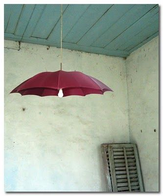 repurposed umbrella lamp oh my gosh im making this...with a vintage umbrella moms going to buy me:):