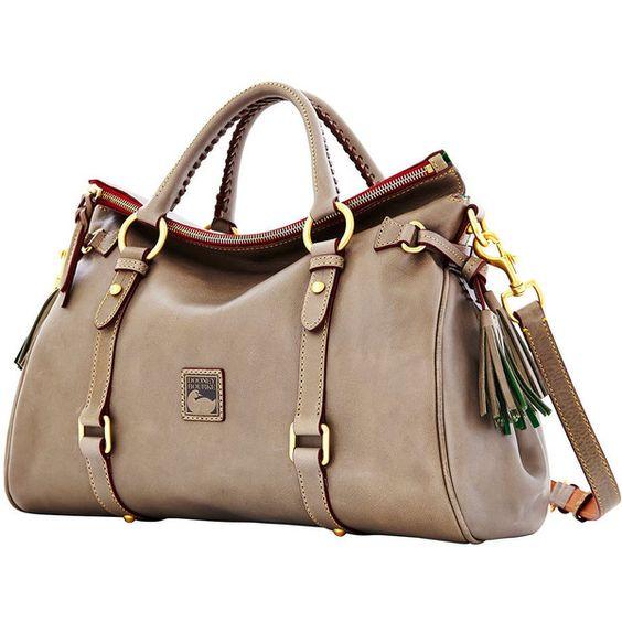 Dooney Bourke Florentine Medium Satchel (2.525 VEF) ❤ liked on Polyvore featuring bags, handbags, purses, brown leather satchel, satchel handbags, genuine leather purse, brown satchel handbag and genuine leather handbags