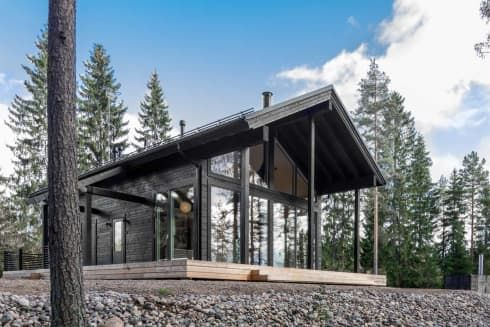 These Modern Finnish Cabins Are Actually Prefab Homes And They Come With Saunas Contemporary Cabin Cabin Kit Homes Prefab Log Cabins